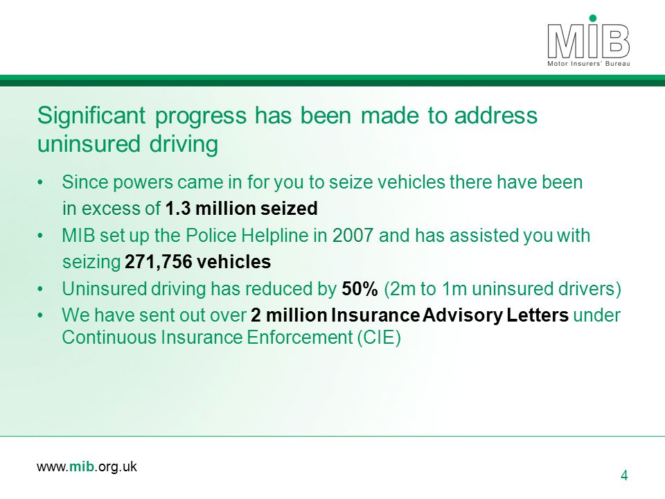 Significant progress has been made to address uninsured driving