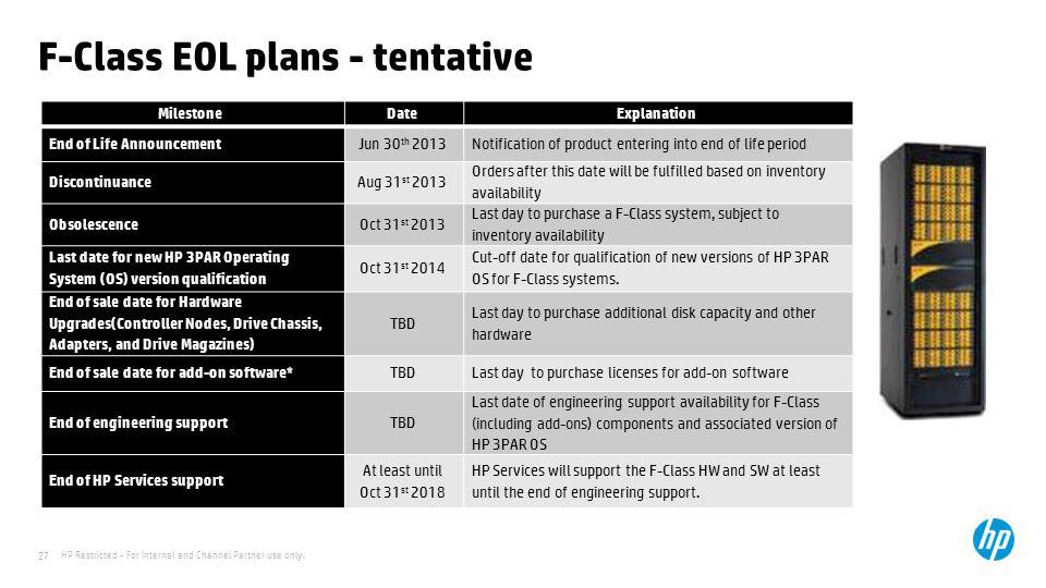 F-Class EOL plans - tentative