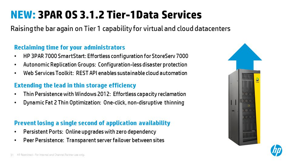 NEW: 3PAR OS 3.1.2 Tier-1Data Services