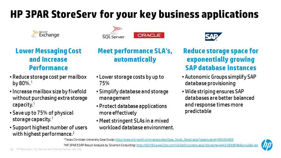 HP 3PAR StoreServ for your key business applications
