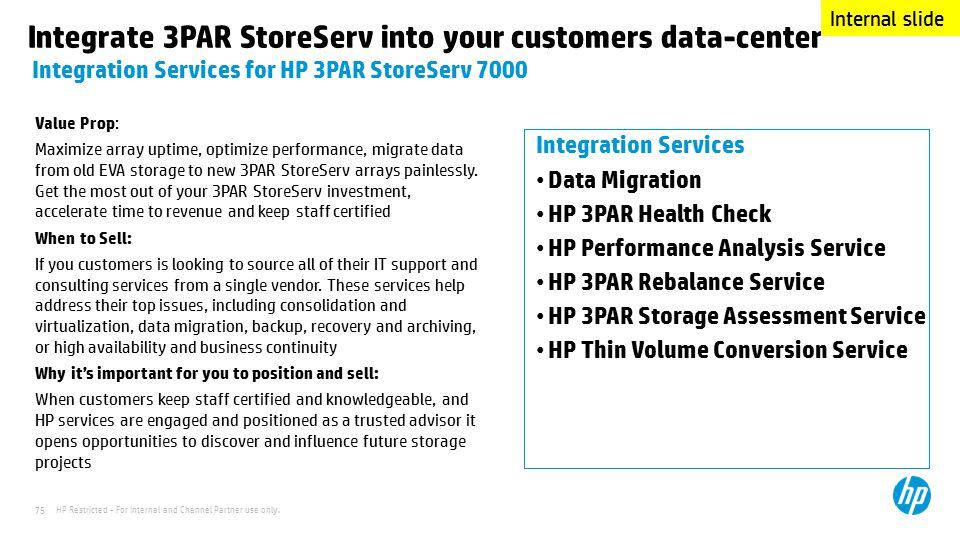 Integrate 3PAR StoreServ into your customers data-center