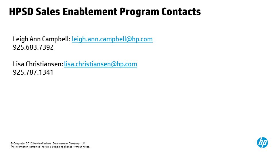 HPSD Sales Enablement Program Contacts