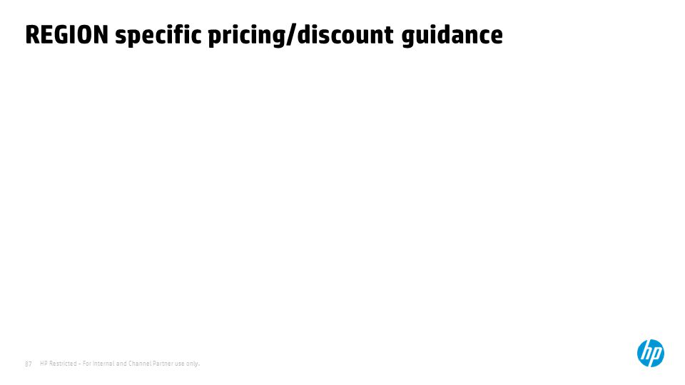 REGION specific pricing/discount guidance
