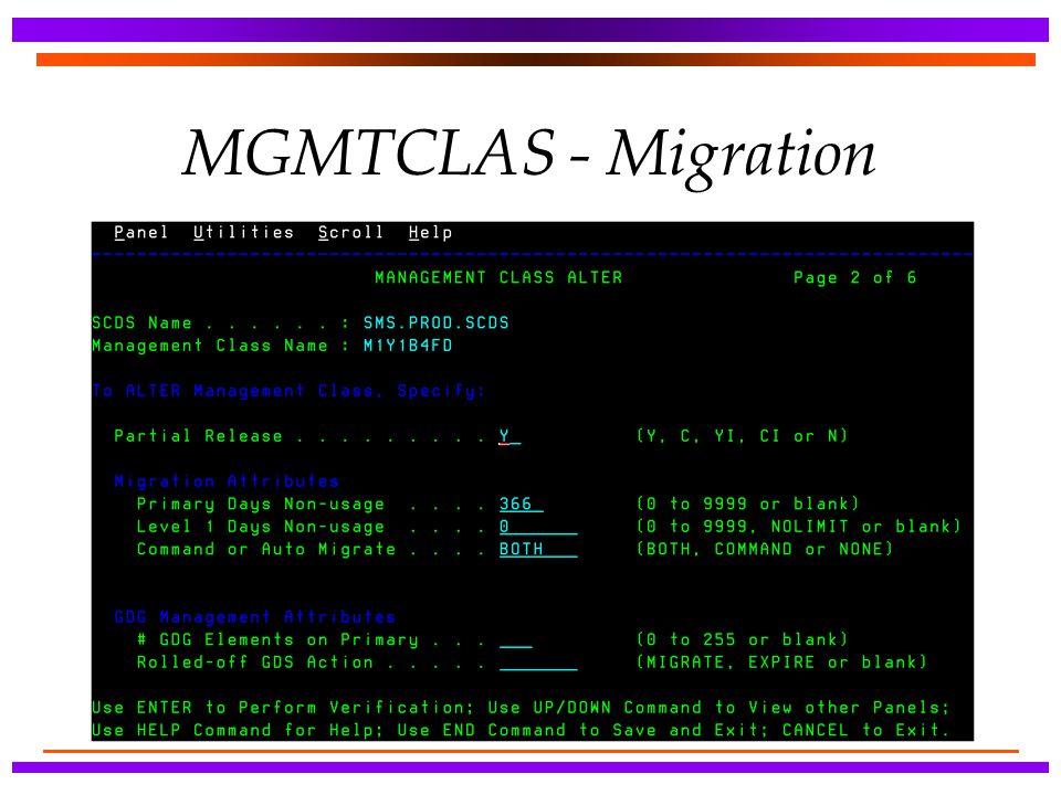 MGMTCLAS - Migration