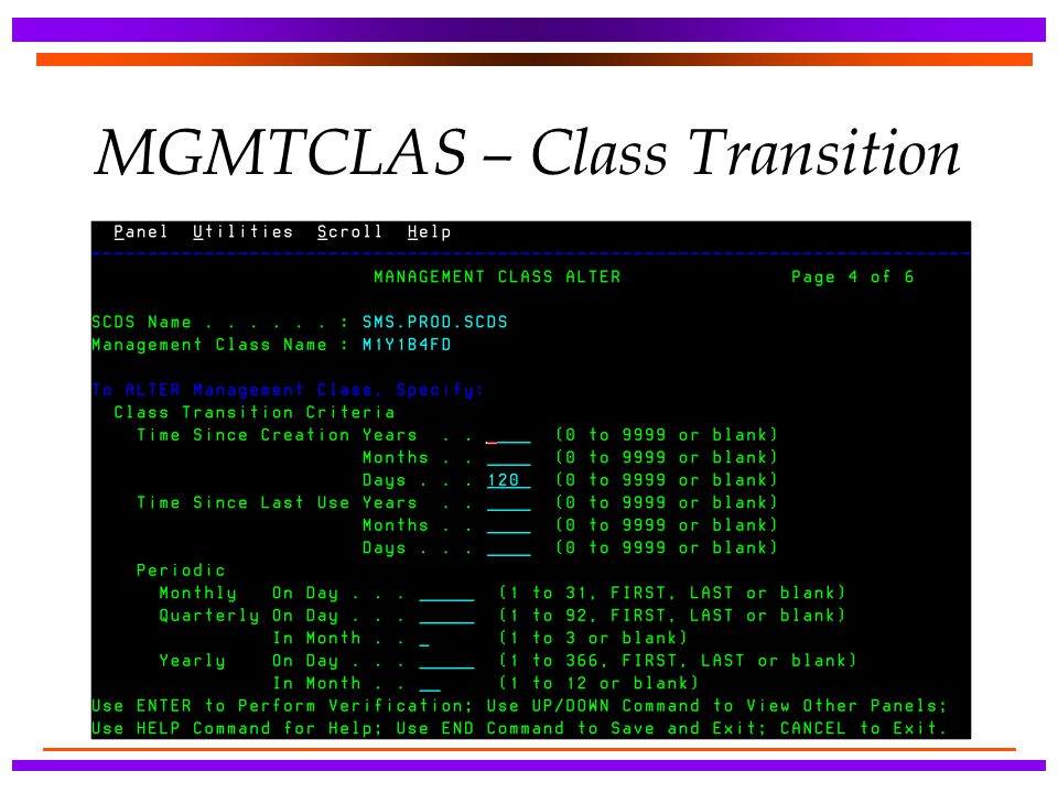 MGMTCLAS – Class Transition