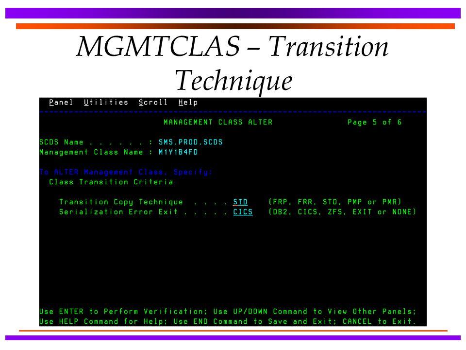 MGMTCLAS – Transition Technique