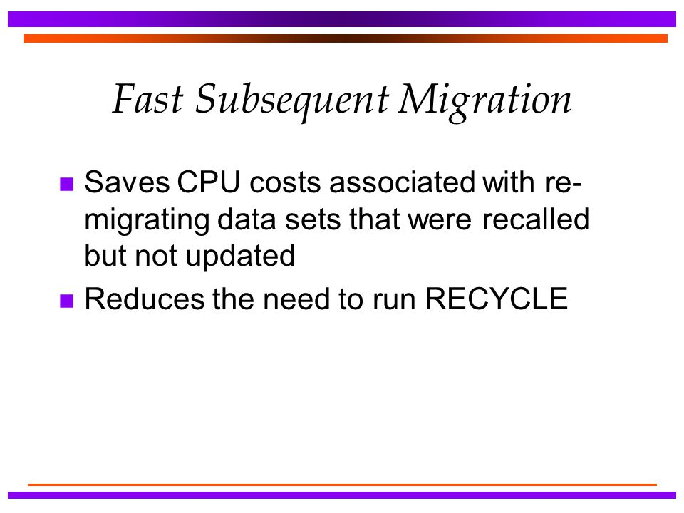 Fast Subsequent Migration