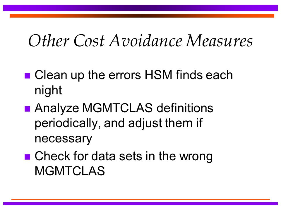 Other Cost Avoidance Measures
