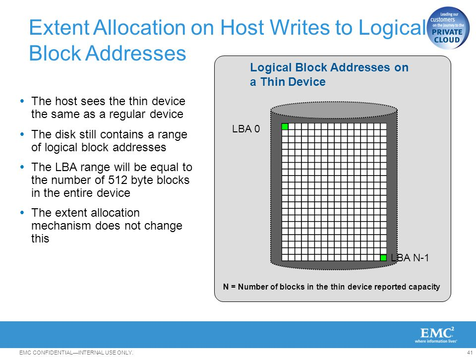 Extent Allocation on Host Writes to Logical Block Addresses