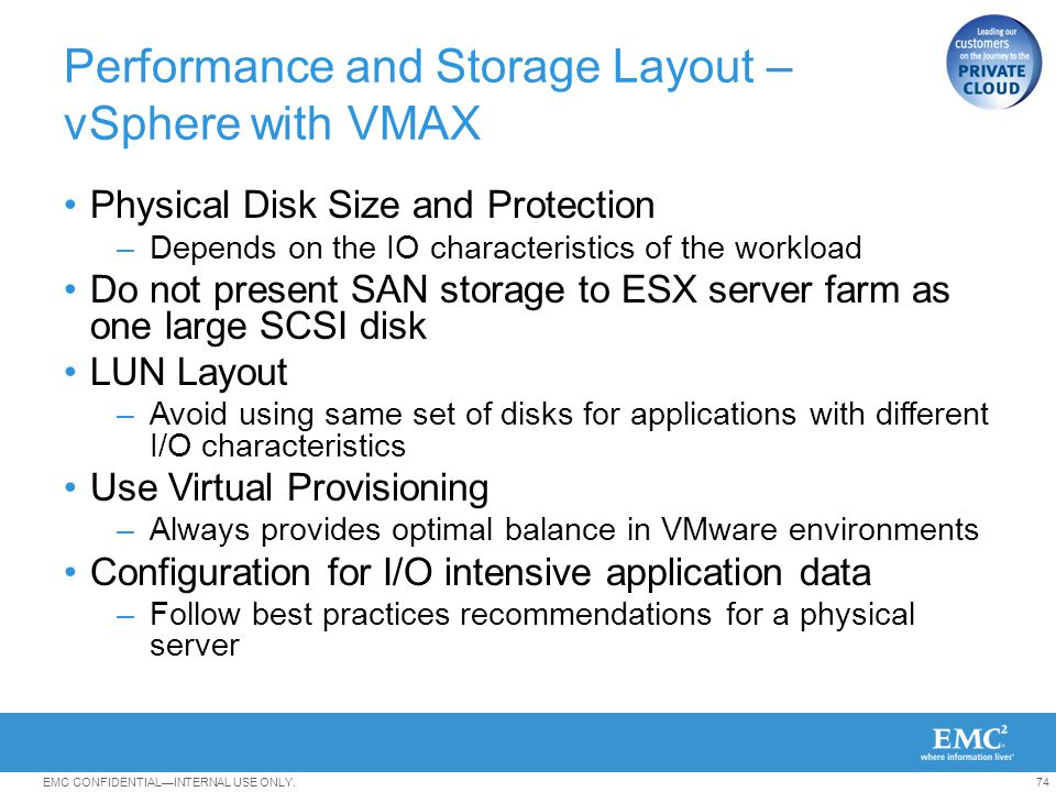 Performance and Storage Layout – vSphere with VMAX