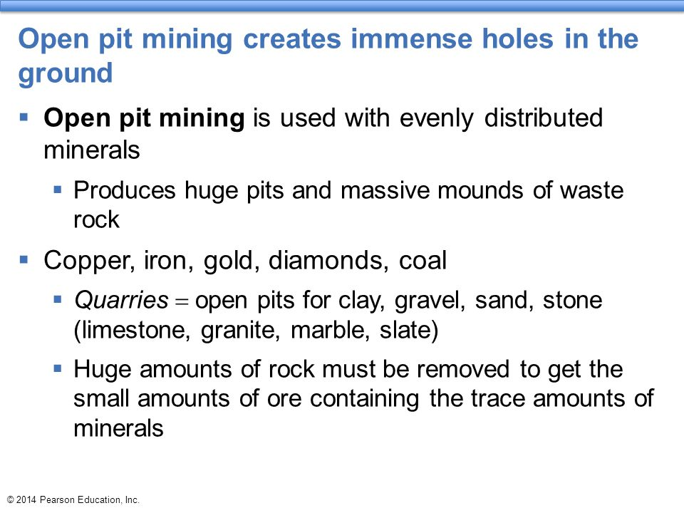 Open pit mining creates immense holes in the ground