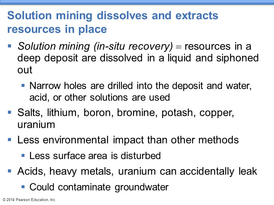 Solution mining dissolves and extracts resources in place