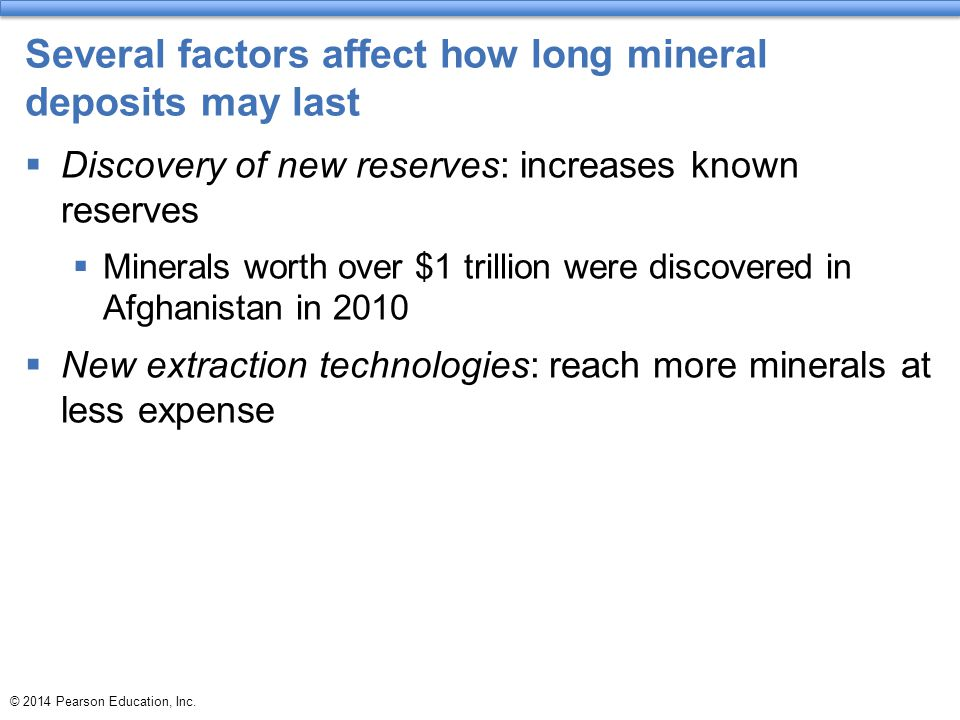 Several factors affect how long mineral deposits may last