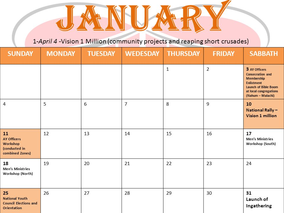 JANUARY SUNDAY MONDAY TUESDAY WEDESDAY THURSDAY FRIDAY SABBATH