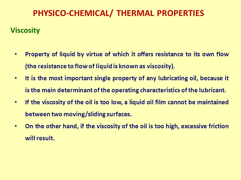 PHYSICO-CHEMICAL/ THERMAL PROPERTIES