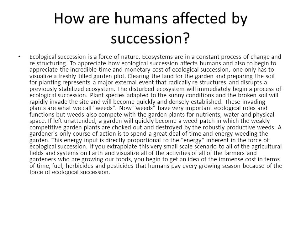 How are humans affected by succession