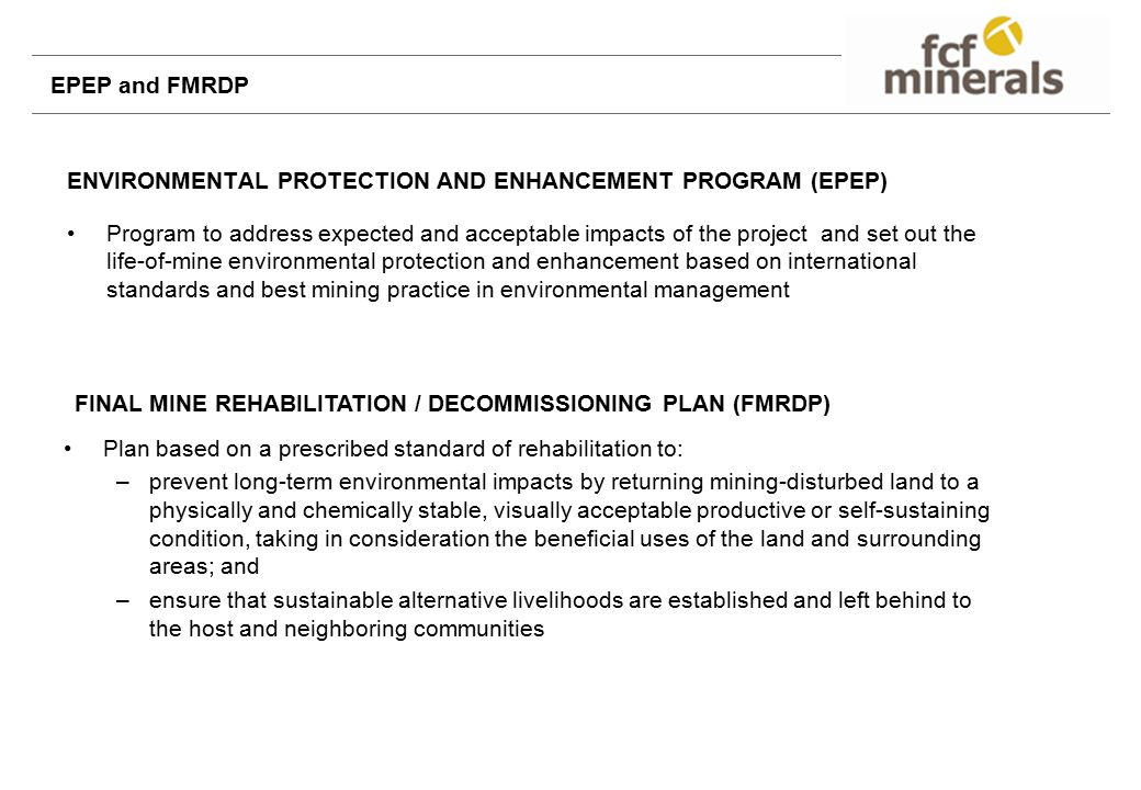 ENVIRONMENTAL PROTECTION AND ENHANCEMENT PROGRAM (EPEP)
