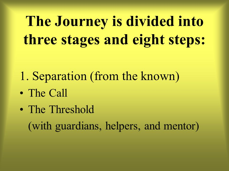 The Journey is divided into three stages and eight steps: