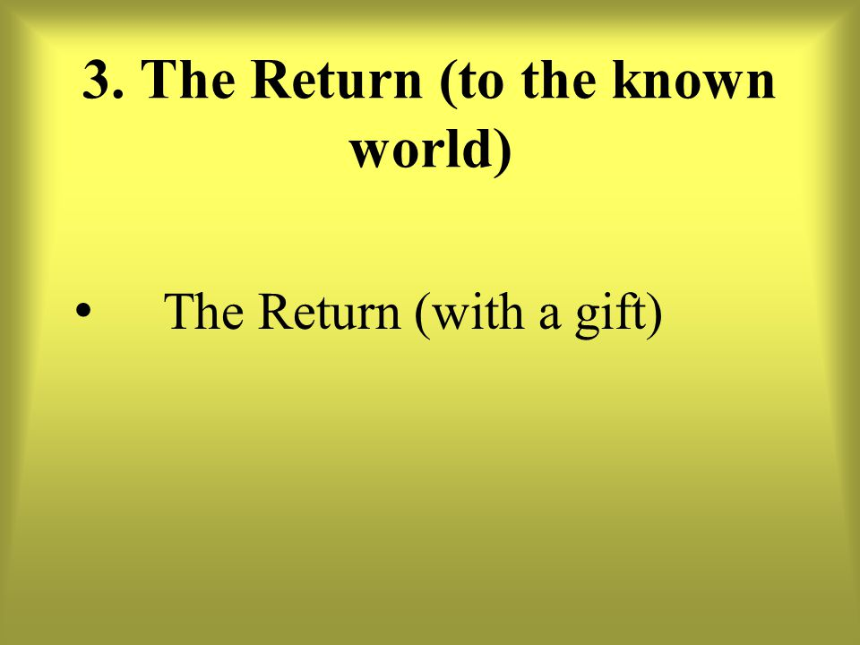 3. The Return (to the known world)