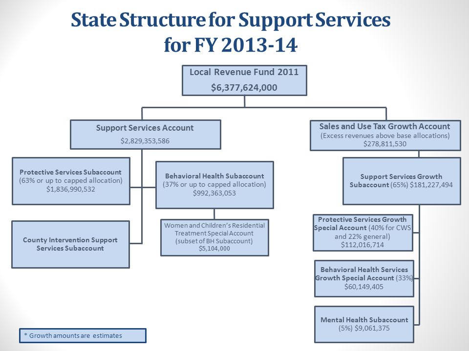 State Structure for Support Services for FY 2013-14