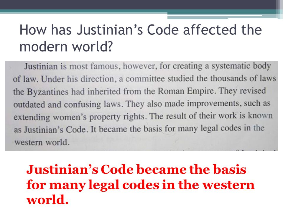 How has Justinian's Code affected the modern world