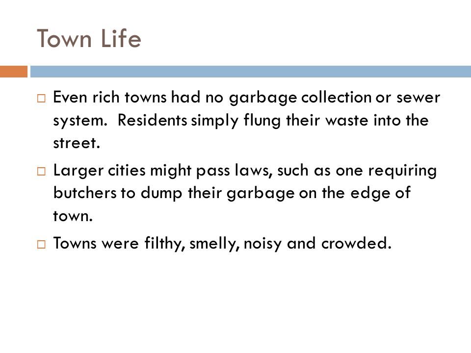 Town Life Even rich towns had no garbage collection or sewer system. Residents simply flung their waste into the street.