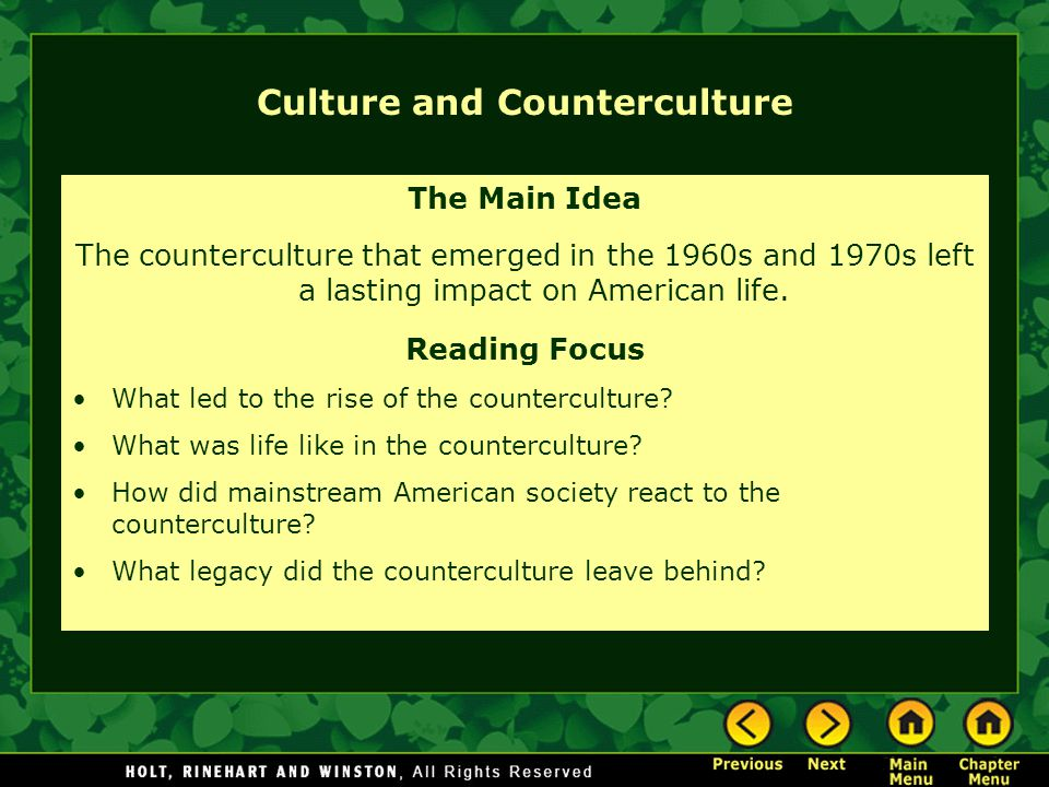 Culture and Counterculture