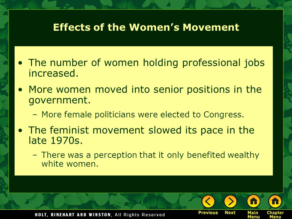 Effects of the Women's Movement