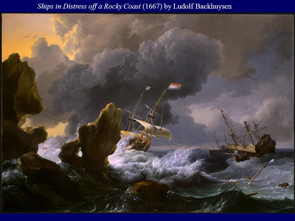 Ships in Distress off a Rocky Coast (1667) by Ludolf Backhuysen