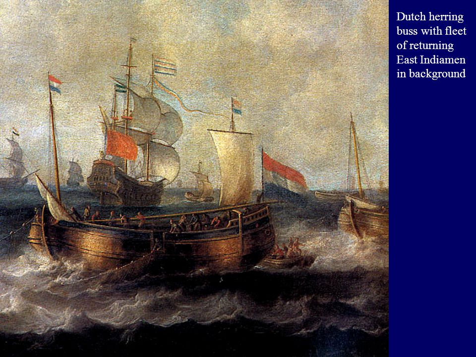 Dutch herring buss with fleet of returning East Indiamen in background