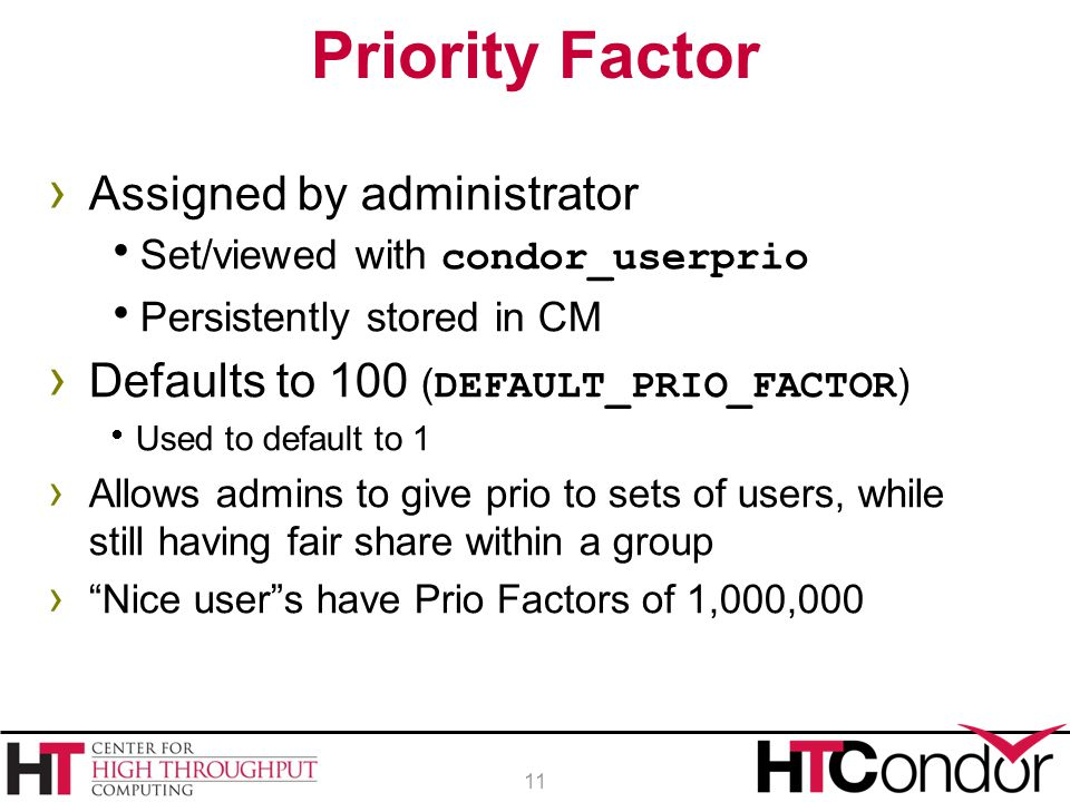 Priority Factor Assigned by administrator
