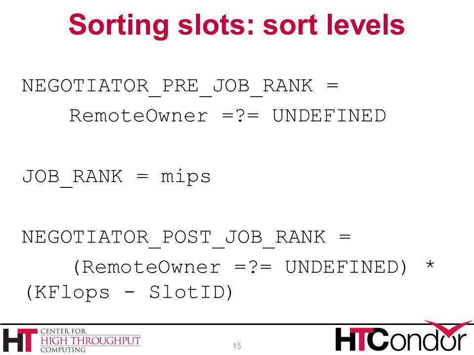 Sorting slots: sort levels