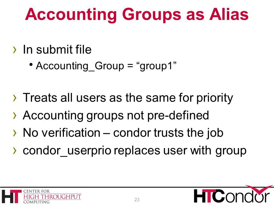Accounting Groups as Alias