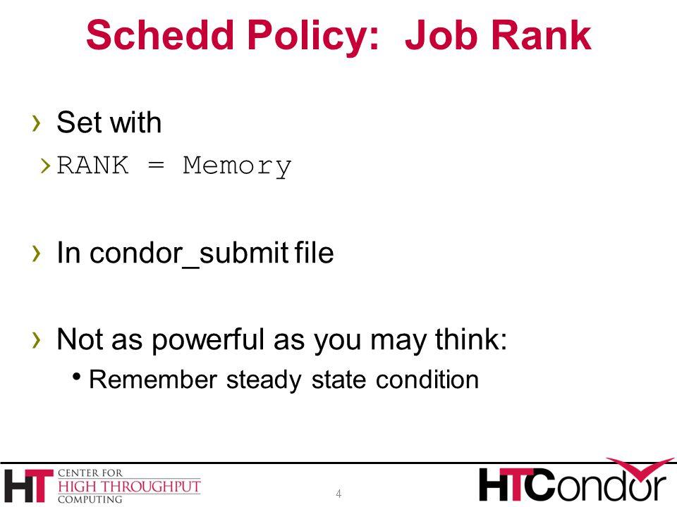 Schedd Policy: Job Rank