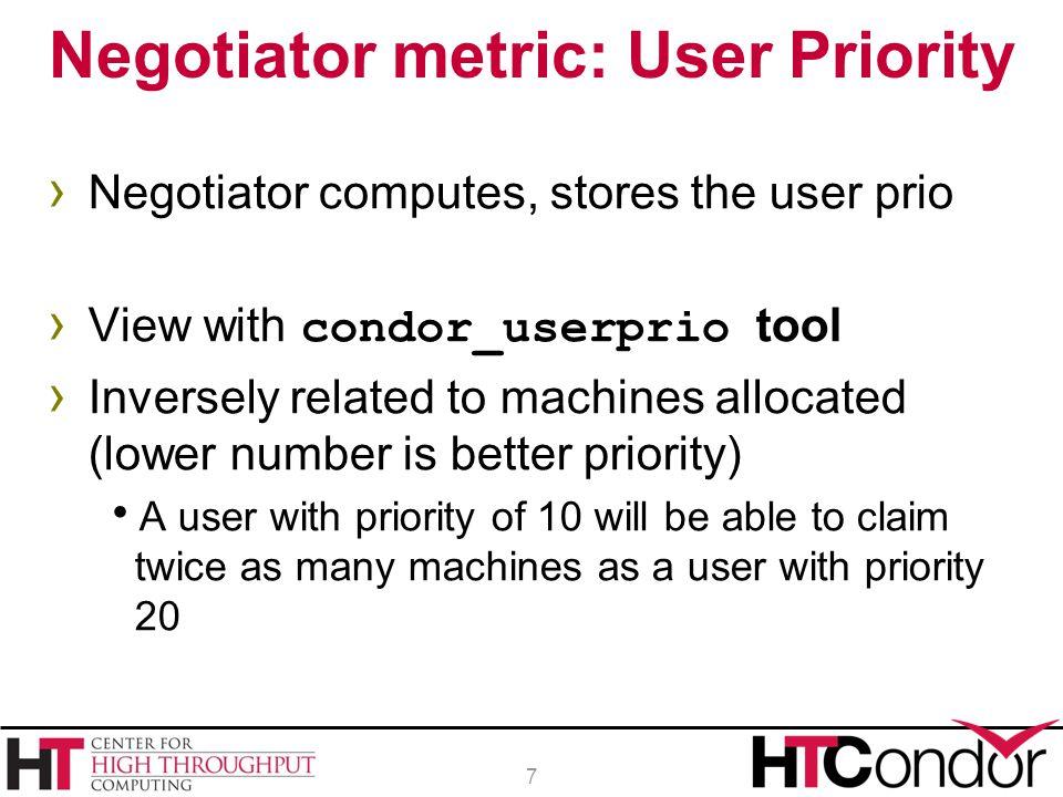 Negotiator metric: User Priority