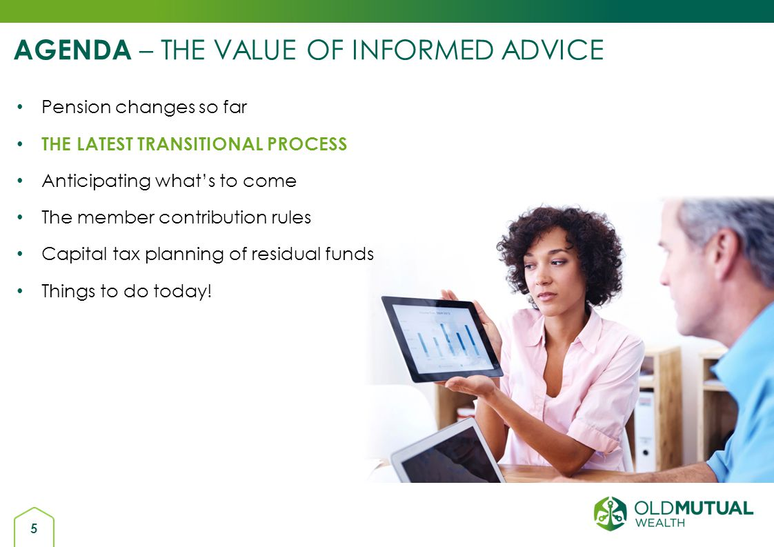 AGENDA – THE VALUE OF INFORMED ADVICE