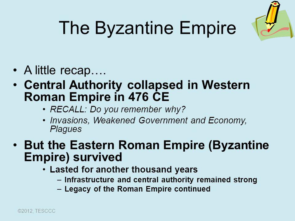 The Byzantine Empire A little recap….