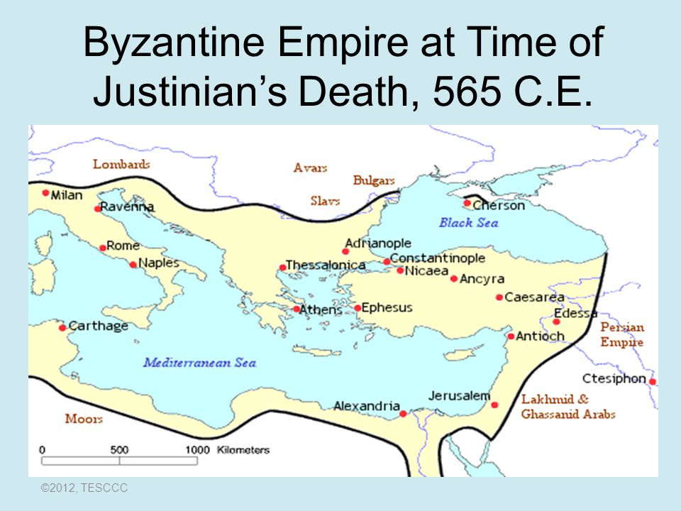 Byzantine Empire at Time of Justinian's Death, 565 C.E.