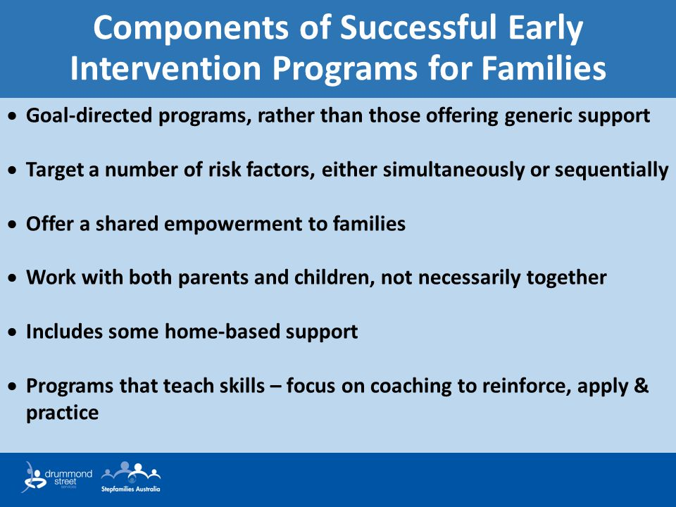 Components of Successful Early Intervention Programs for Families