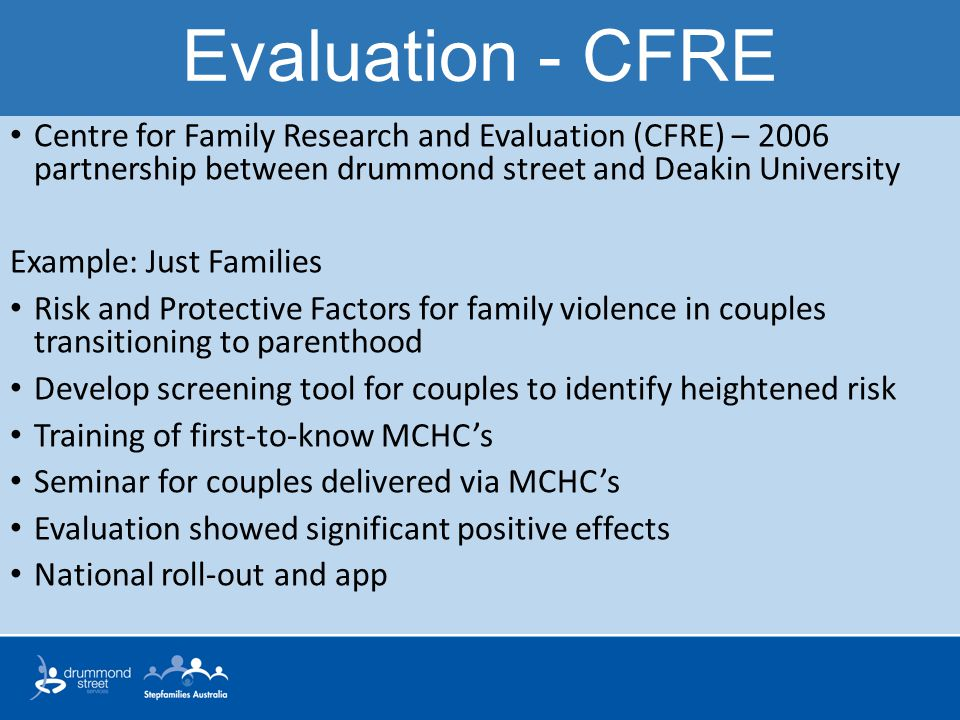 Evaluation - CFRE Centre for Family Research and Evaluation (CFRE) – 2006 partnership between drummond street and Deakin University.