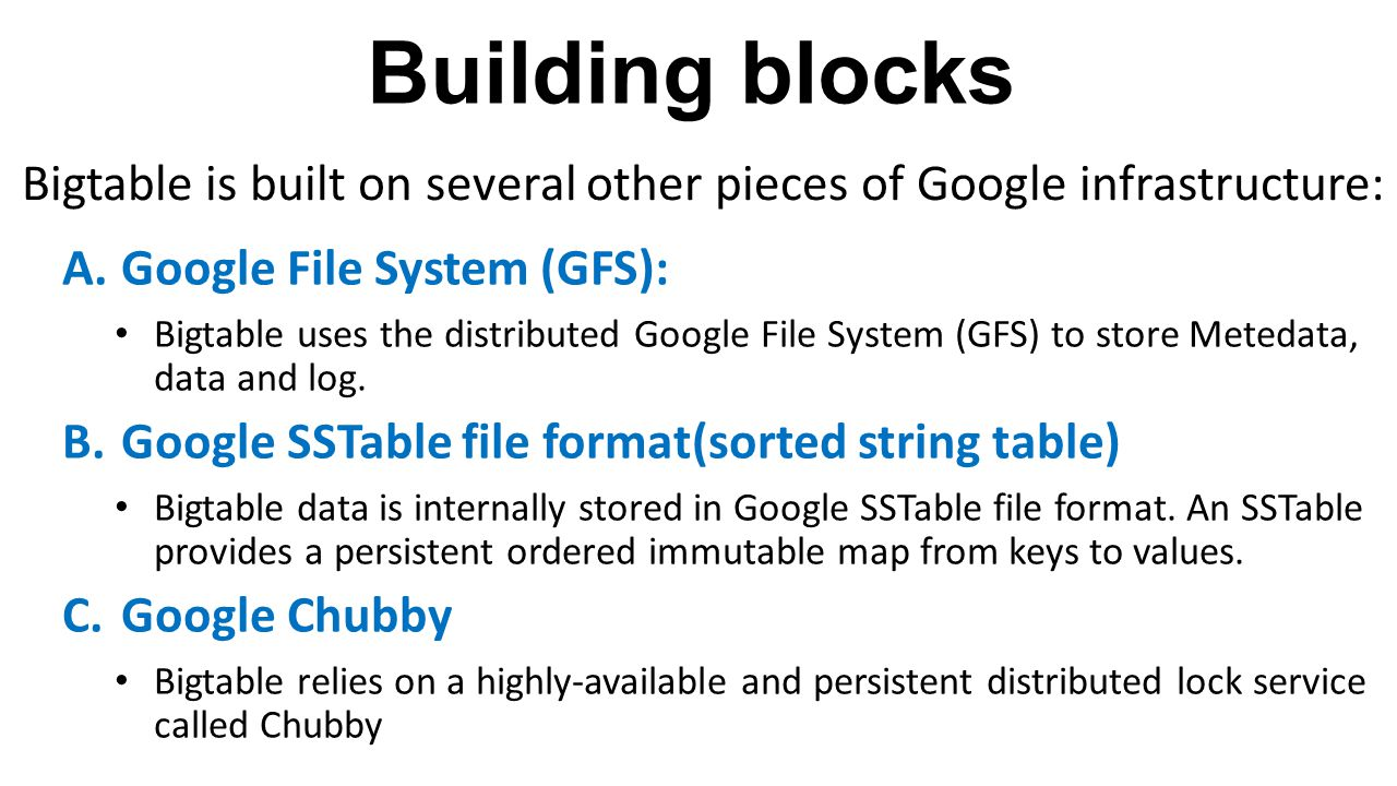 Building blocks Bigtable is built on several other pieces of Google infrastructure: Google File System (GFS):