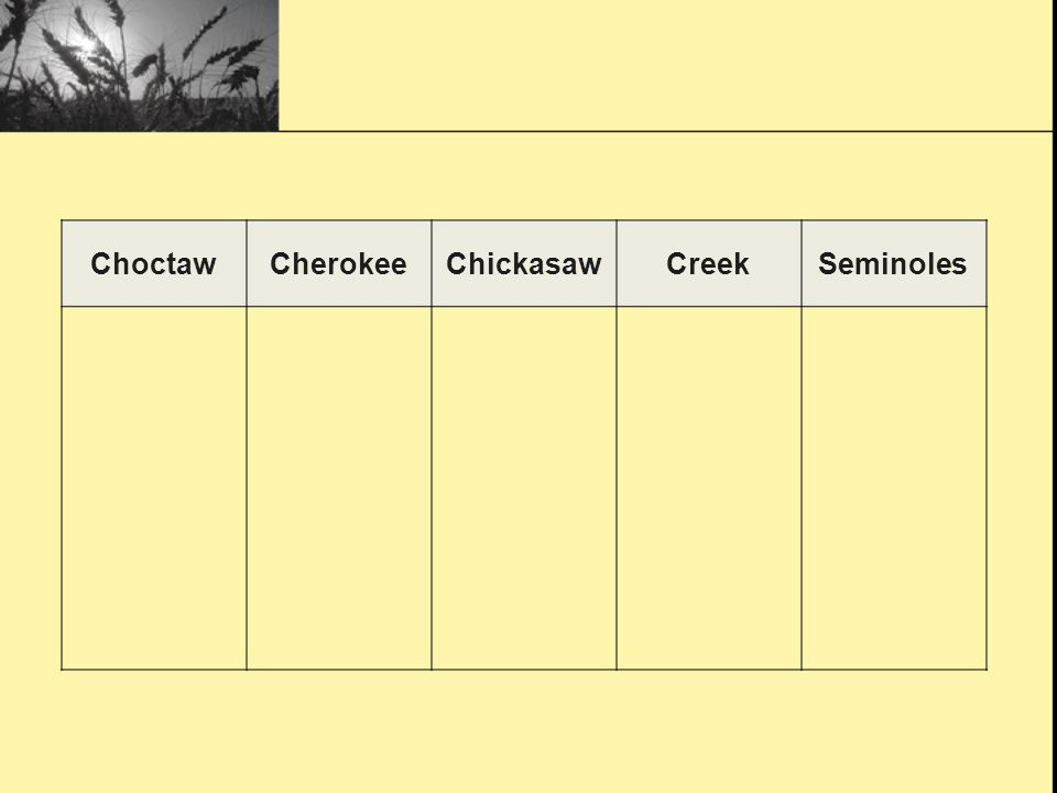 Choctaw Cherokee Chickasaw Creek Seminoles
