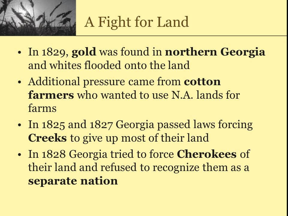 A Fight for Land In 1829, gold was found in northern Georgia and whites flooded onto the land.