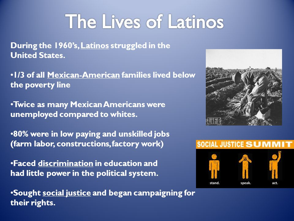 The Lives of Latinos During the 1960's, Latinos struggled in the United States. 1/3 of all Mexican-American families lived below the poverty line.