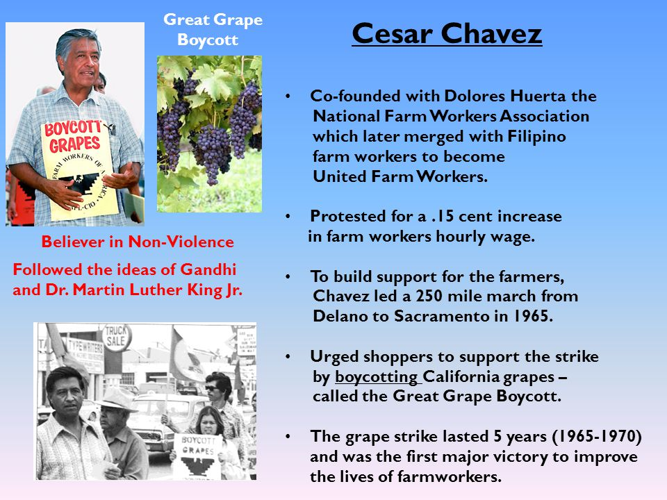 Cesar Chavez Great Grape Boycott Co-founded with Dolores Huerta the