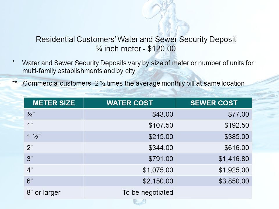 Residential Customers' Water and Sewer Security Deposit ¾ inch meter - $120.00