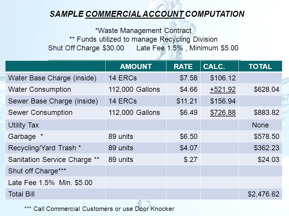 SAMPLE COMMERCIAL ACCOUNT COMPUTATION