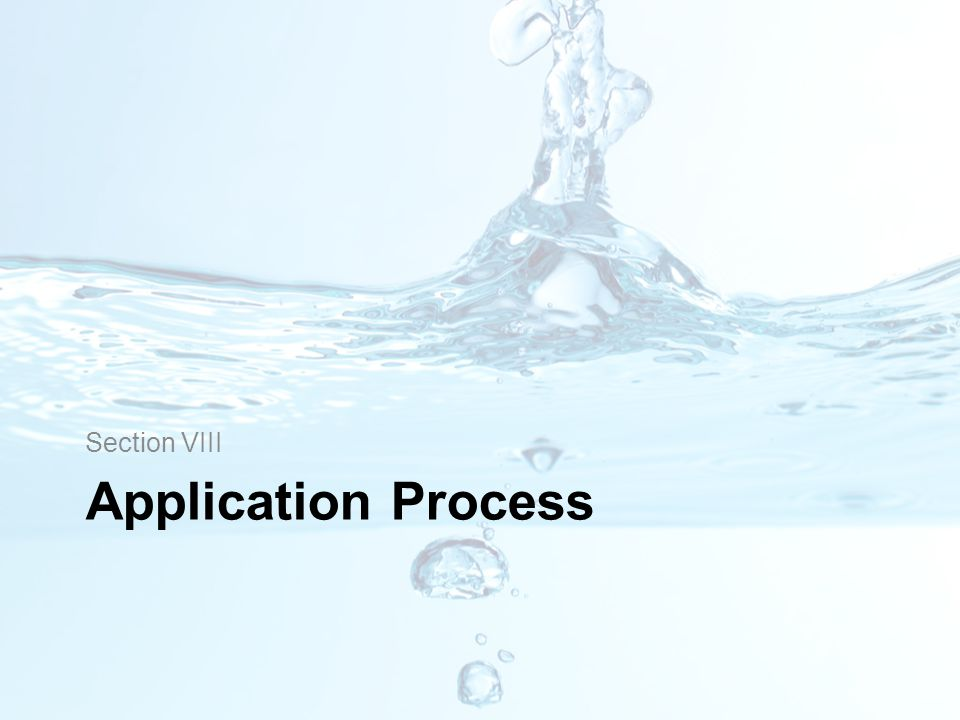 Section VIII Application Process