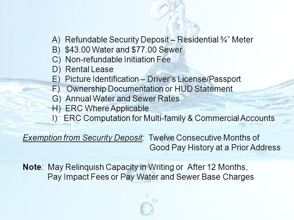 A) Refundable Security Deposit – Residential ¾ Meter