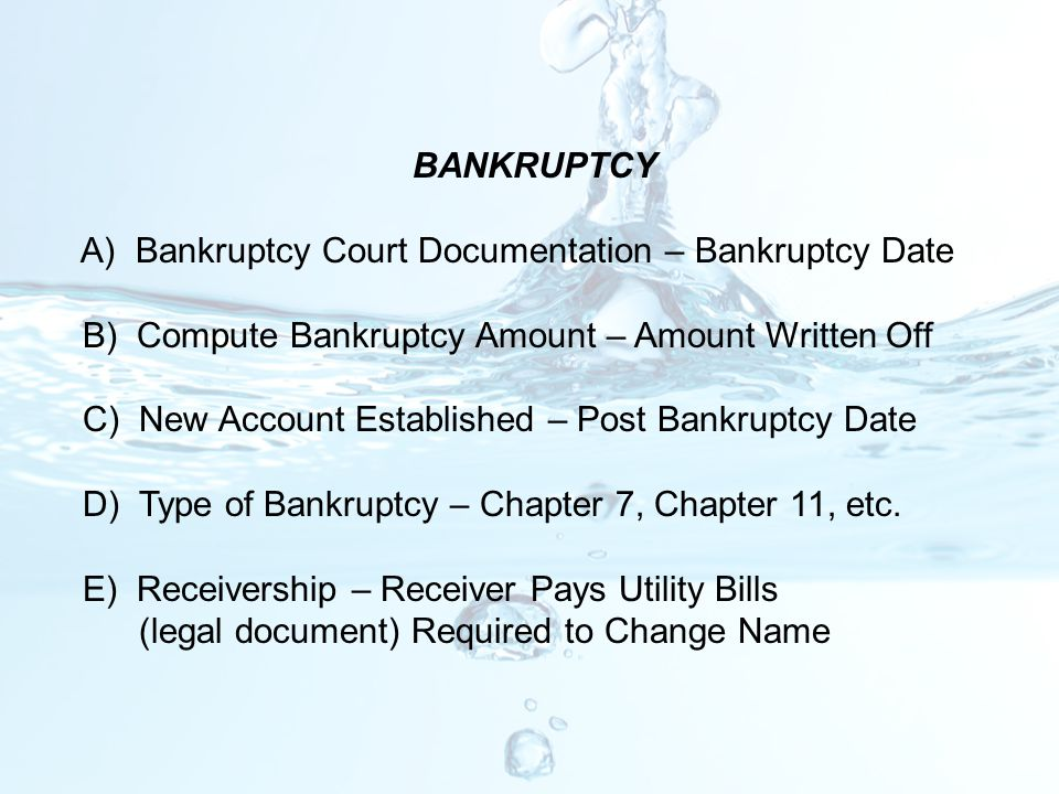 BANKRUPTCY A) Bankruptcy Court Documentation – Bankruptcy Date. B) Compute Bankruptcy Amount – Amount Written Off.